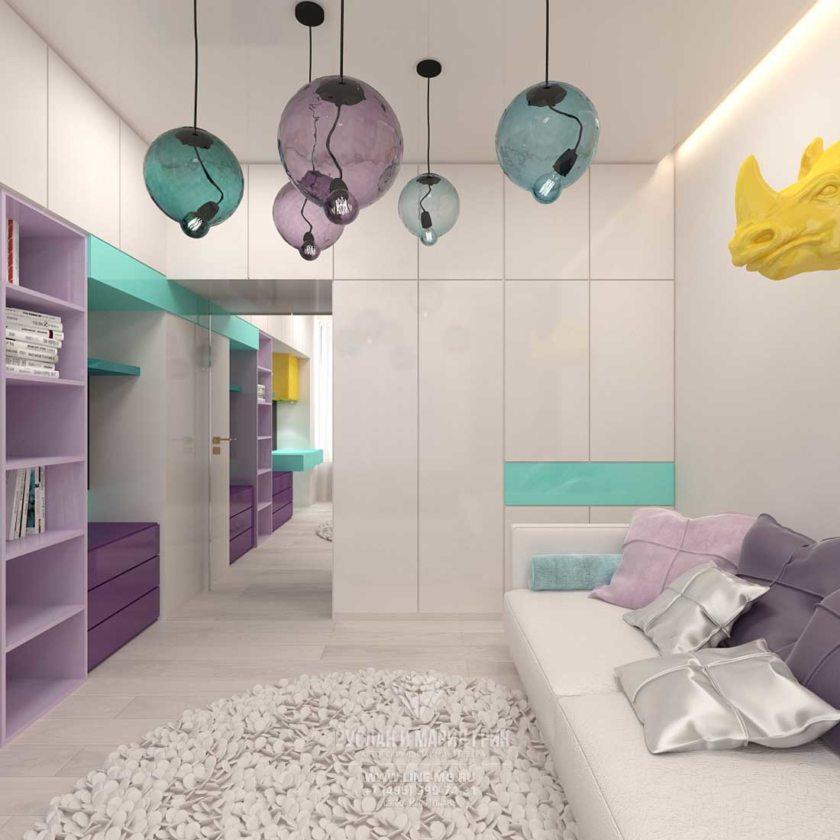 Современный дизайн детской комнаты для 2 девочек