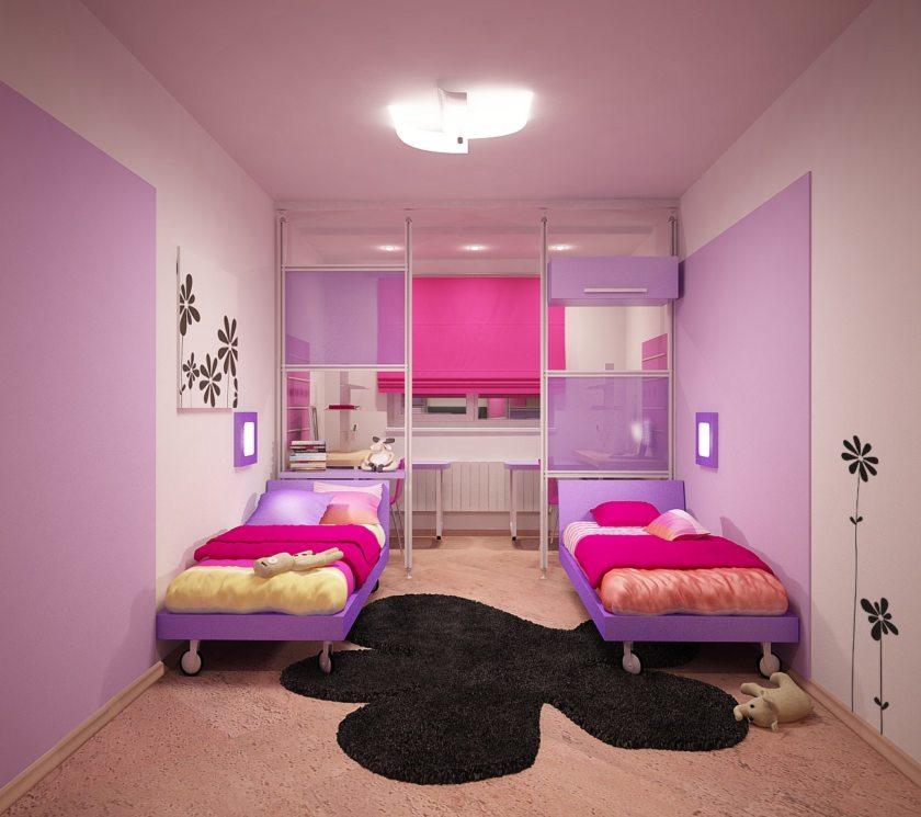 Детские комнаты для 2 девочек дизайн 10 квм
