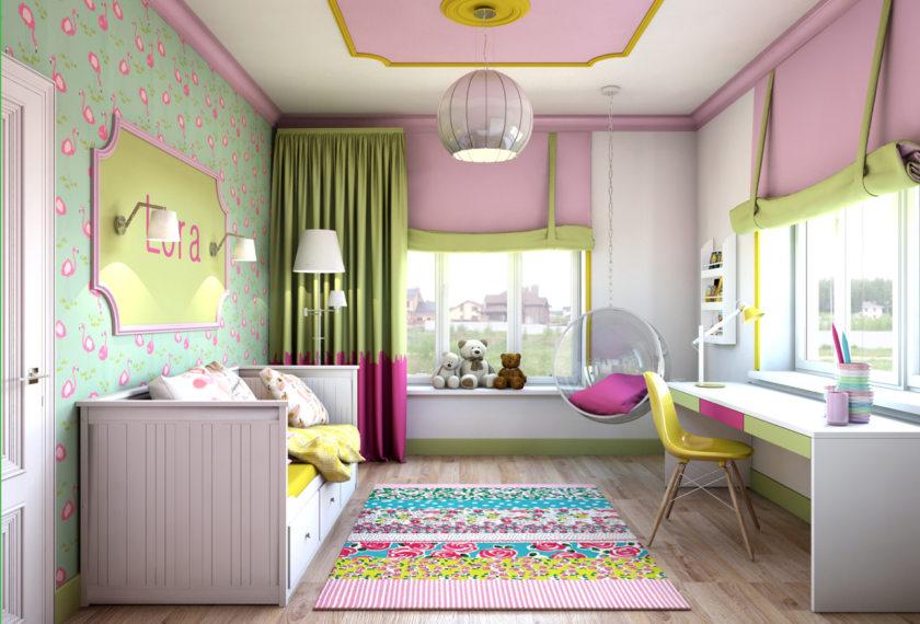 Как сделать дизайн детской комнаты для девочек 62