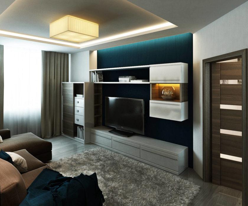 Дизайн гостиной в стиле хай